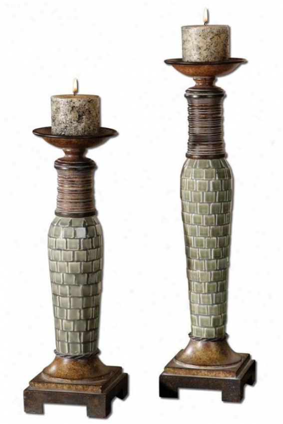 Kayson Candleholders - Set Of Two, Blue