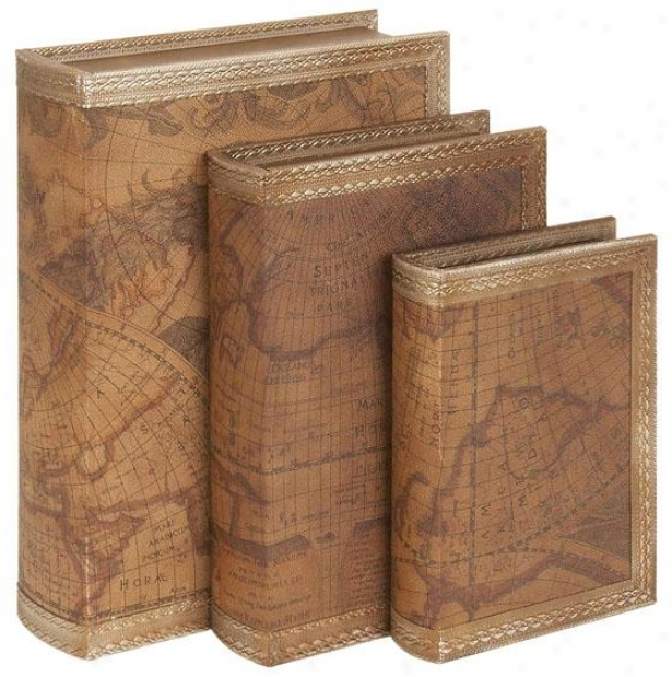 """kenneth Book Box - Set O f 3 - S/3 14"""",12"""",10"""", Brown"""