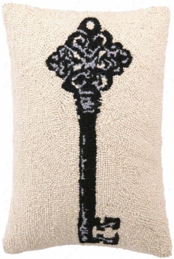 Key Hooked Pillow - Version I, Ecru W/black
