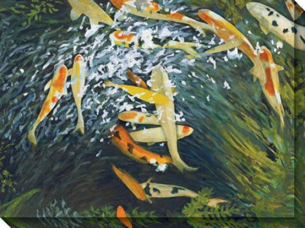 Koi Iii Canvas Wall Art - Iii, Orange