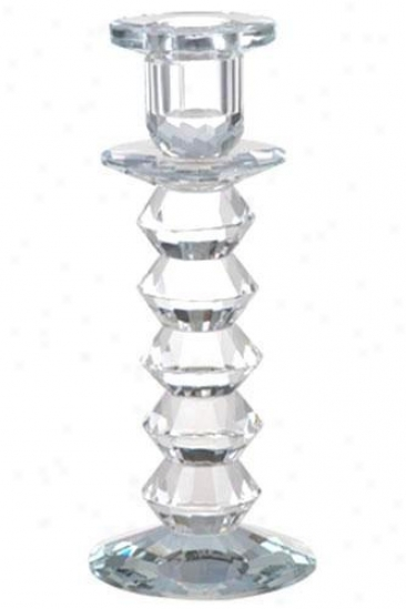 """langley Lead Crystal Candlestick - 8""""h, Crystal"""