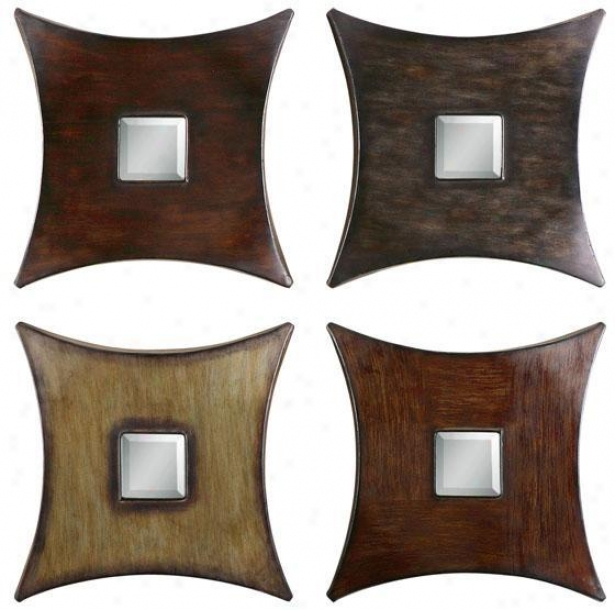 """lasaro Mirrors - Set Of 4 - 16""""hx16""""w, Brown"""