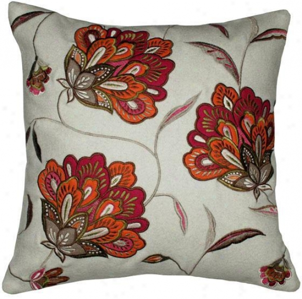 """laurel Pillow - 18""""x18"""", White"""