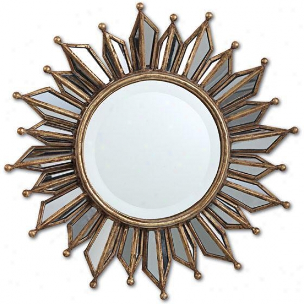 """le Soleil  Small Wall Mirror - 18.5""""d, Gold"""