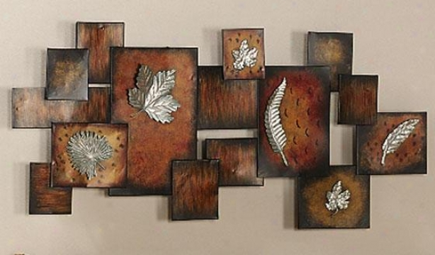"""leaves Abstract Panel Wall Art - 19.25""""hx40""""w, Multi"""
