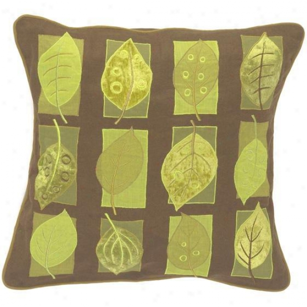 """leaves Pillows - Set Of 2 - 18""""x18"""", Chocolate Brown"""