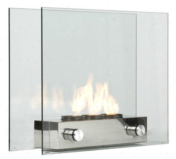 """lila Portable Fireplace - 32""""wx24""""hx9""""d, Clear"""