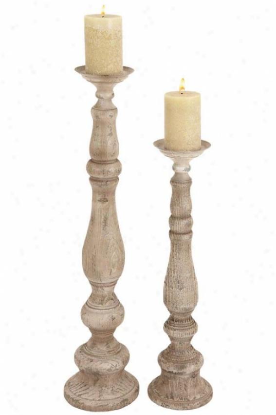 """lindell Candleholder - Set Of 2 - S/2 37""""h,29""""h, Cream Distresse"""