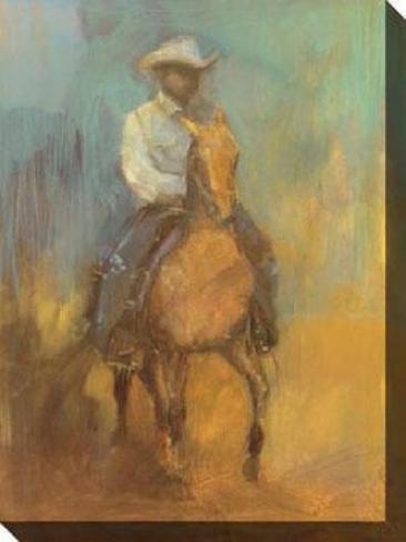Lone Jockey Ii Canvas Wall Art - Ii, Yellow