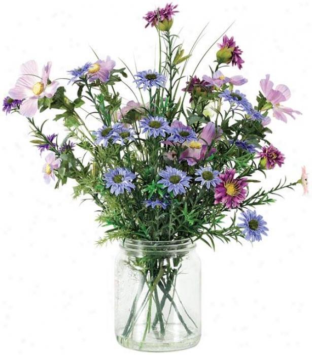 """""""ltdia Floral Arrangement - 16""""""""hx4""""""""d, Purple"""""""