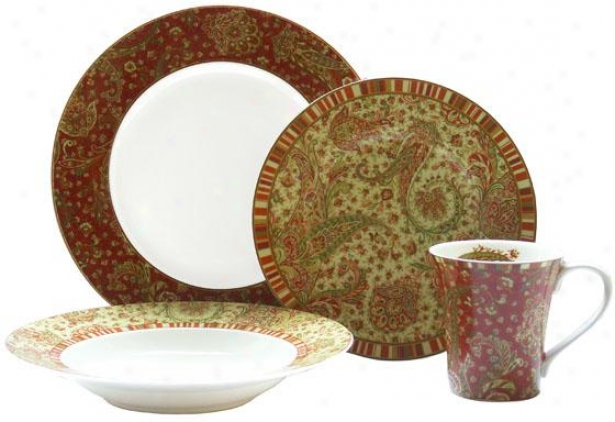 Maharana 16-piece Dinnerware Set - 16 Piece Set, Red