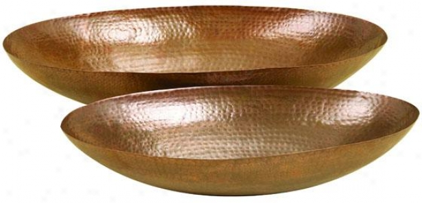 """marley Oval Bowl - Set Of 2 - Setof2/26""""&21""""w, Bronze"""