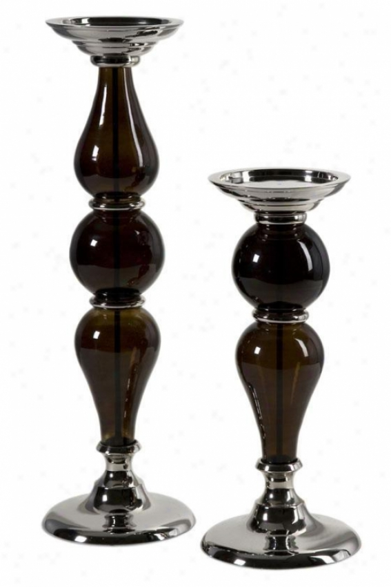 Martine Pillar Canddleholders - Set Of 2 - Set Of 2, Brown
