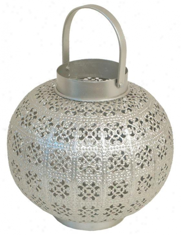 """meena Metal Candleholder - 12""""h X 8.5""""d, Silver"""