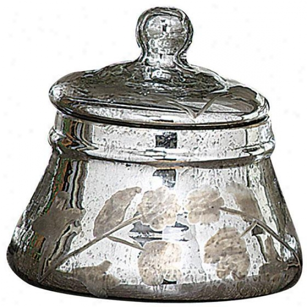 """mercury Glass Jar With Lid - 6.5""""hx6.5""""round, Silver"""