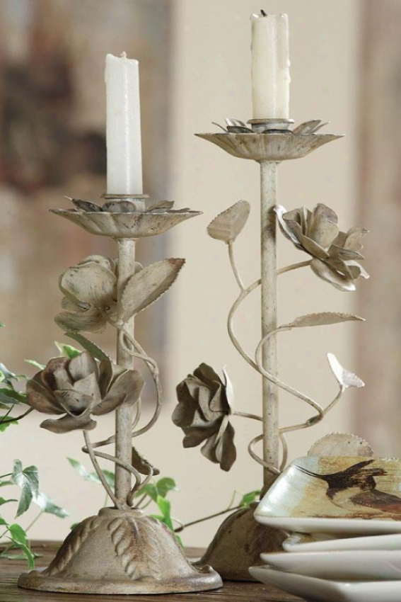 """metal Tapee Holder With Flowers - 5x5x12""""h, Tan"""