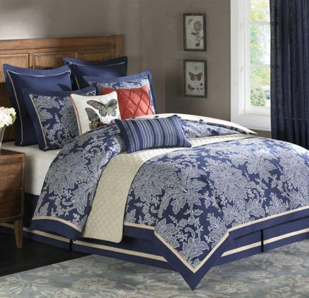 Middletob Ii Comforter Set - Queen 9pc Set, Navy Blue