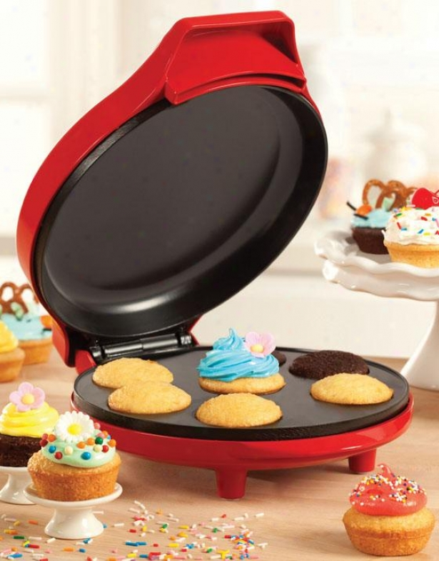 """mini Cupcake Maker - 5""""hx9""""wx11.5""""d, Red"""