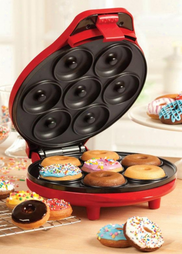 """mini Donut Maker - 4.5""""hx10""""wx11""""d, Red"""