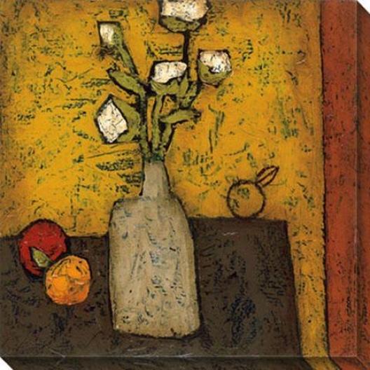 Modern Vase And Flowers Ii Canvas Wall Art - Ii, Yellow