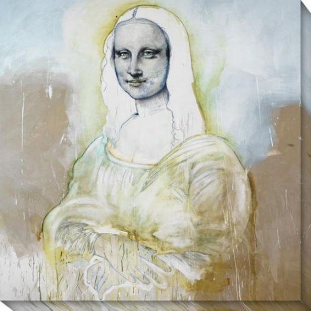 """mona Ghost Canvas Wall Art - 40""""hx40""""w, White"""