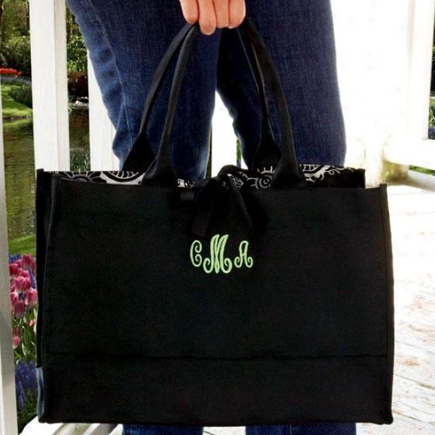 """monogram Damask Tote Bag - 18 X 12 X 8.5"""", Black/apple Grn"""