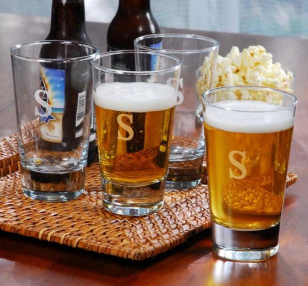 Monogram Pint Glasses - Set Of 4 - 16oz/set 4, Z