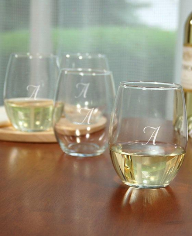 Monogram Stemless Wine Glasses - Set Of 4 - 21oz, D
