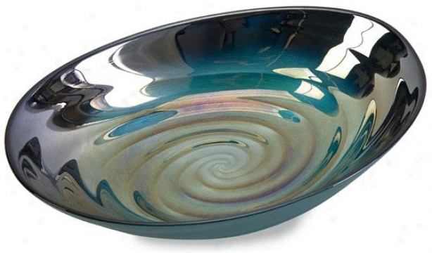 """moody Swirl Gpass Bowl - 13""""wx9""""dx3""""h, Green"""