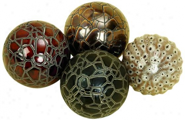"""morgandy Decorative Ball - Set Of 4 - 4""""diameter, Multi Earthtns"""