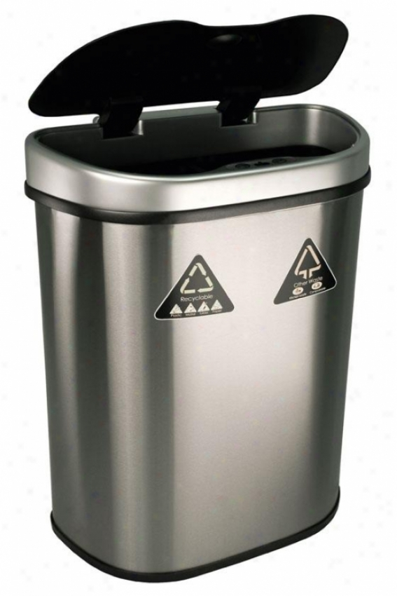 Port Detetcor Recycling Bin - 18.5 Gallon, Brushed Stainls