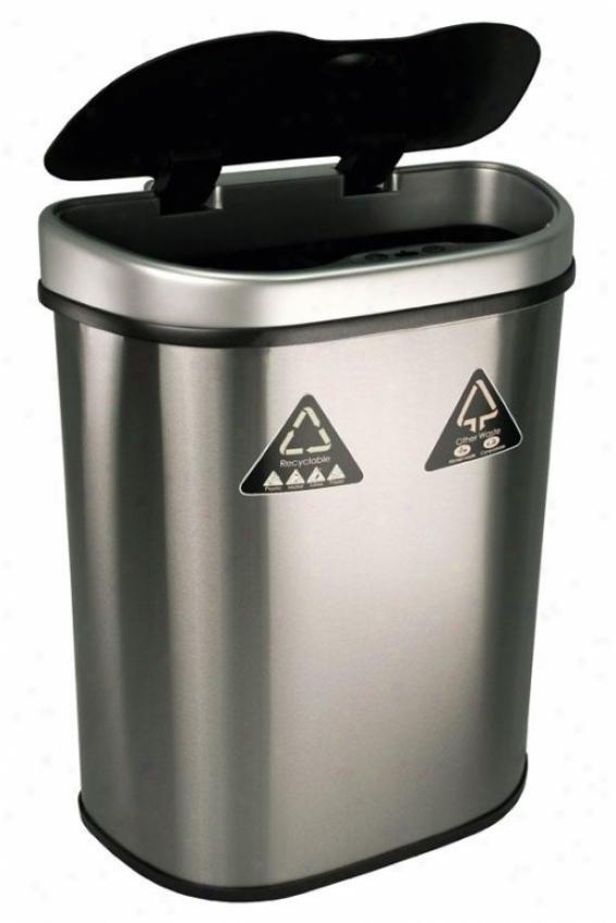 Port Detetcor Recycling Bin - 18.5 Gallon, Brushed Stainls
