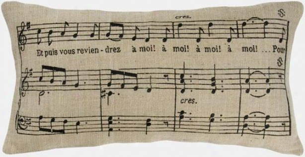 """muxic Notes Pillow - 11""""hx21""""w, Black"""