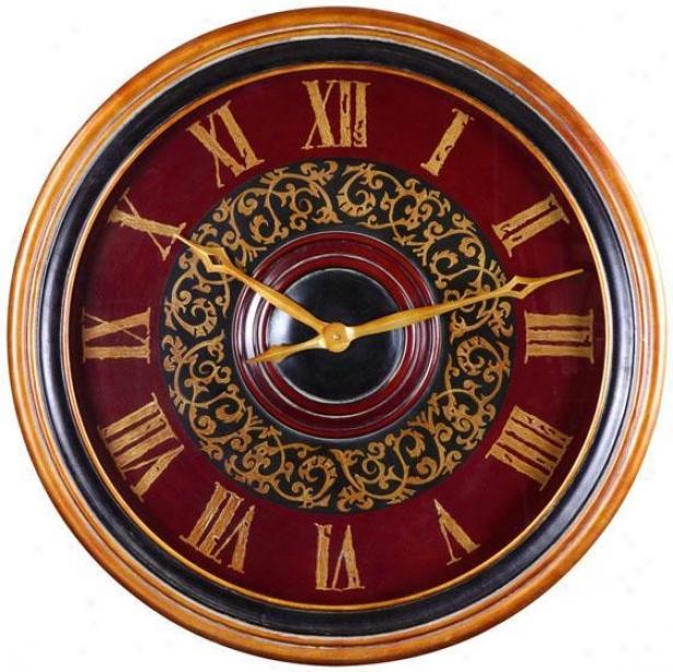 """natara Clock - 32""""round, Antiqued Wash"""