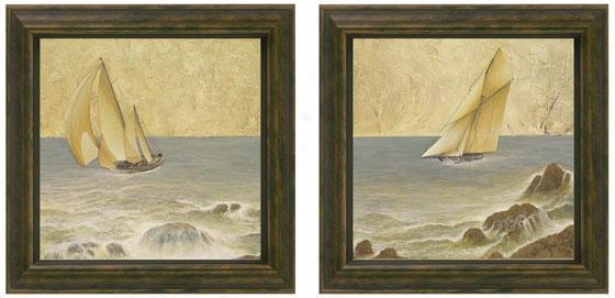 Nautical Fusion Framed Wall Art - Set Of 2 - Regular Of Two, Ivory