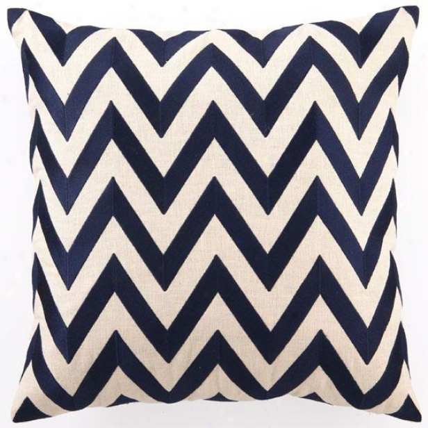 &quot;navy Embroidered Pillow - 20&quot;&quot;hx20&quot;&quot;wx2.5&quot;&quot;d, Navy Zig Zag&quot;