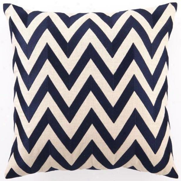 """navy Embroidered Pillow - 20""""hx20""""wx2.5""""d, Navy Zig Zag"""