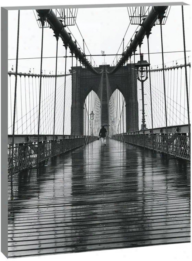 New York City Landmarks Wall Art - Brooklyn Bridge, Black And White