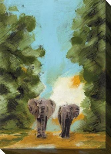 Nightfall Among The Elephants I Cajvas Wall Art - I, Blue