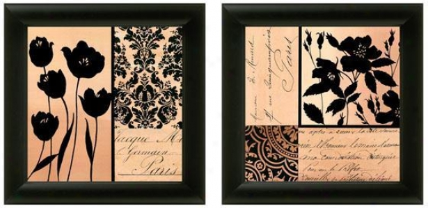 Noir Et Creme Framed Wall Creation of beauty - Set Of 2 - Set Of Pair, Black