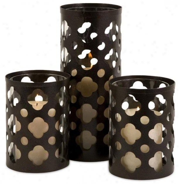 Norte Cutwork Candleholders - Set Of 3 - Set Of Three, Brown