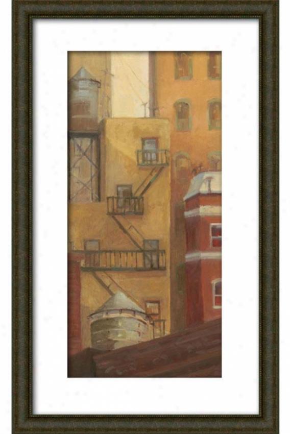 Old Town I Framed Wall Art - I, Matted Burlwood