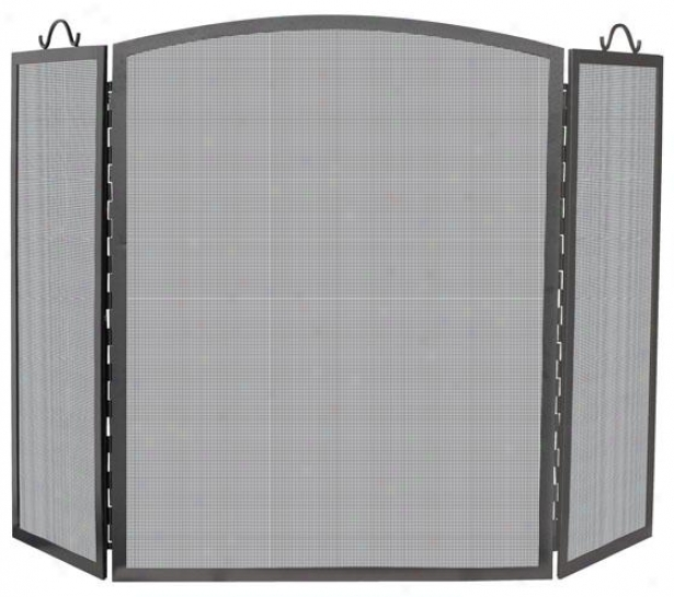 """olde World 3-panel Fireplace Screen - 36""""hx56""""wx2""""d, Charcoal Gray """