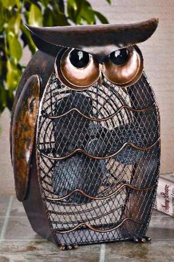 """owl Figurine Fan - 13h X 8.25""""d, Multi"""