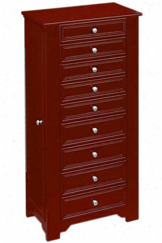 Oxford Jewelry Armoire I - 8-drawer, Maroon