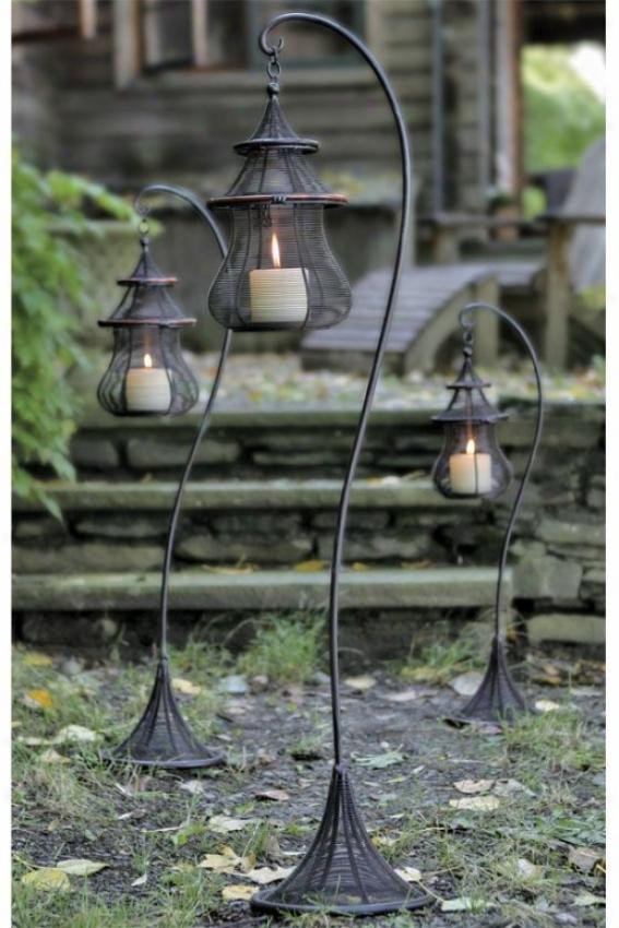"""pagoda Lantern & Stand Set - 38""""hx6""""round, Brown"""
