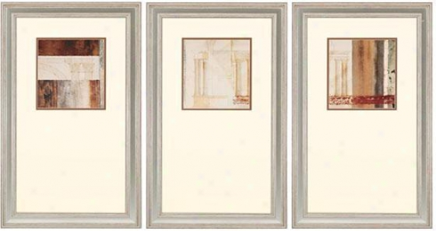Palladio Wall Art - Set Of 3 - Set Of 3, Ivory/earthtns