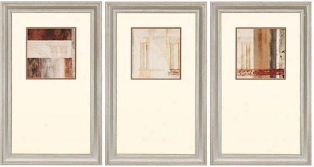 Palladio Wall Art - Set Of 3 - Set Of 3, Ivory/earthtns