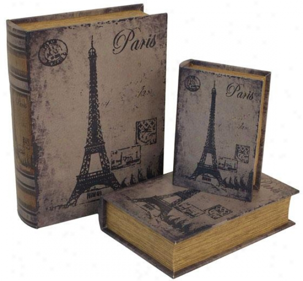 Paris Book Boxes-  Set Of 3 - Set Of Three, Distressed