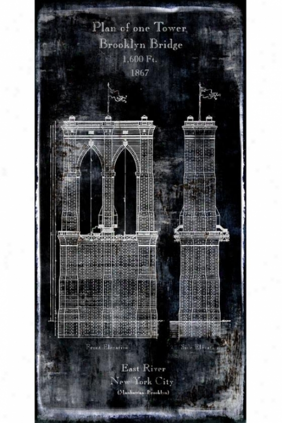 """plan Of One Tower Brooklyn Build a ~ over  Wall Art - 24""""wx48""""hx2""""d, Black"""